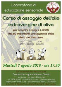 Corso di assaggio olio extravergine di oliva 7 agosto 2018