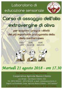 Corso di assaggio olio extravergine di oliva 21 agosto 2018