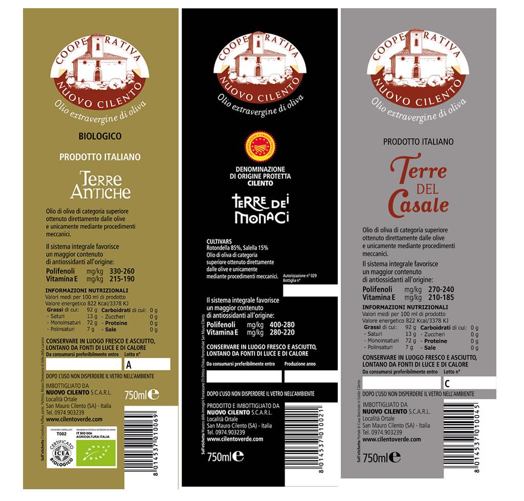 etichette olio extravergine Cilento polifenoli vitamina E