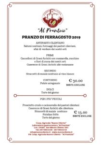 Menù Ferragosto 2019