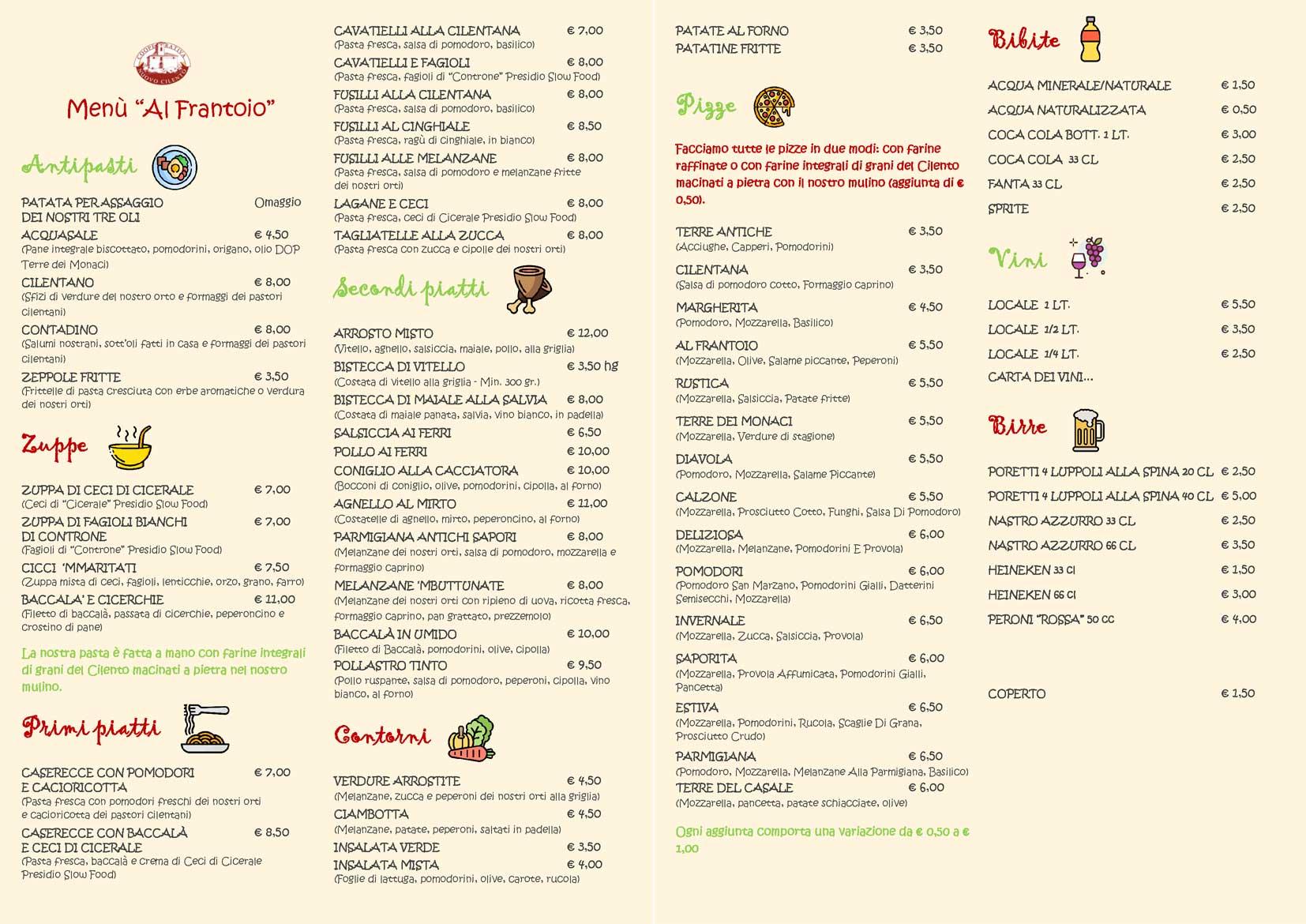 menu inverno 2020 ristorante al frantoio
