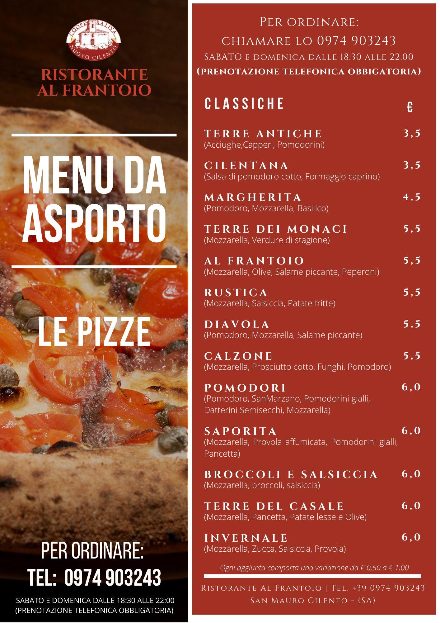 Nuovo CIlento menu asporto pizze